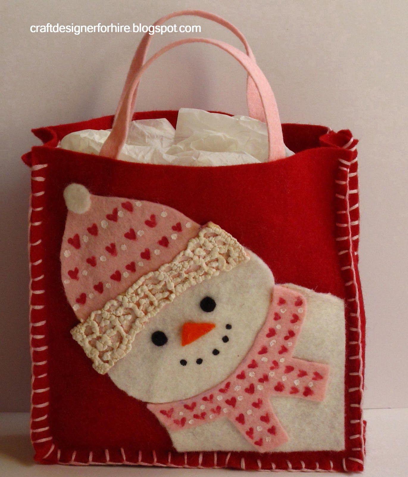 Sweet Snowman felt Bag~with tutorial.....<3