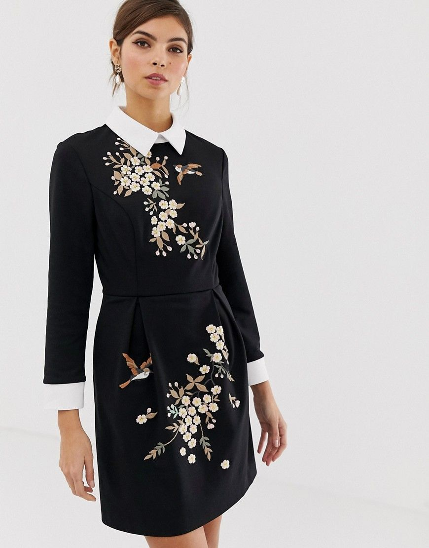 Ellan Embroidered Dress Baker Ted Blacktedbakercloth D9EIWH2