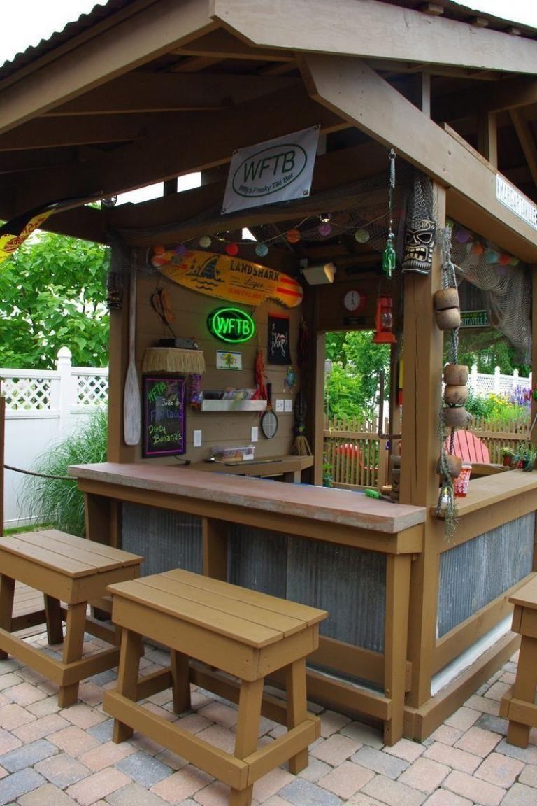 40 Top Backyard Gazebo Made From Pallet Ideas Backyard Gazebo Diy Outdoor Bar Backyard Bar