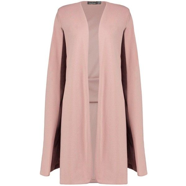 Boohoo Eloise Longline Cape | Boohoo ($35) ❤ liked on Polyvore featuring  outerwear,
