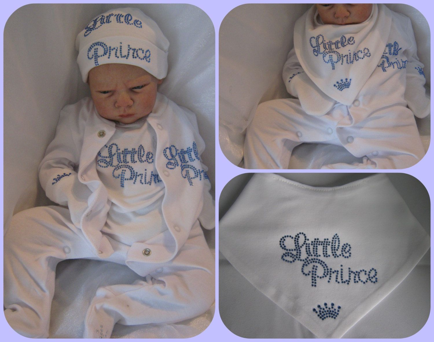 Newborn Or 0 3 Months Baby Boy Royal Prince 2013 Crystal Hat Mittens