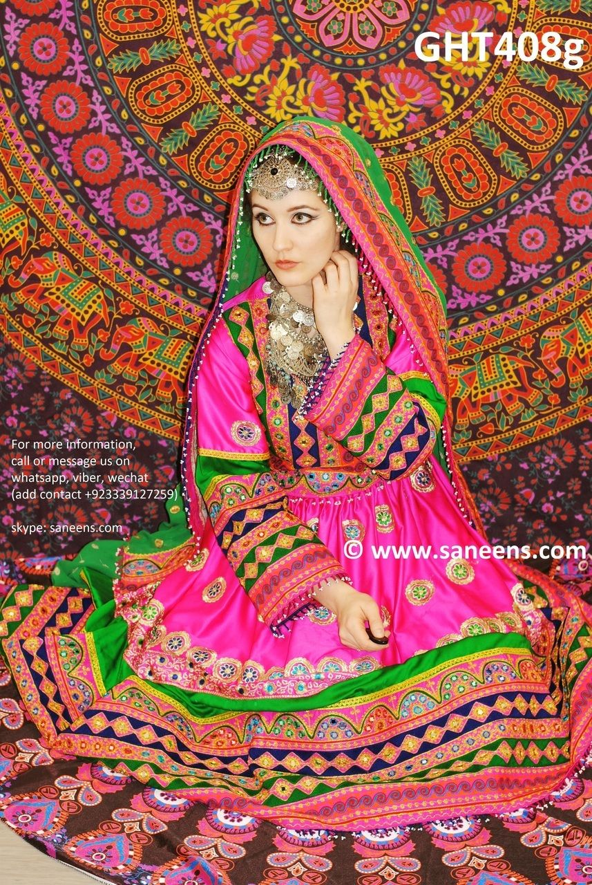 Afghani Dress In Pink And Green Color Muslim Wedding Dresses Online ...