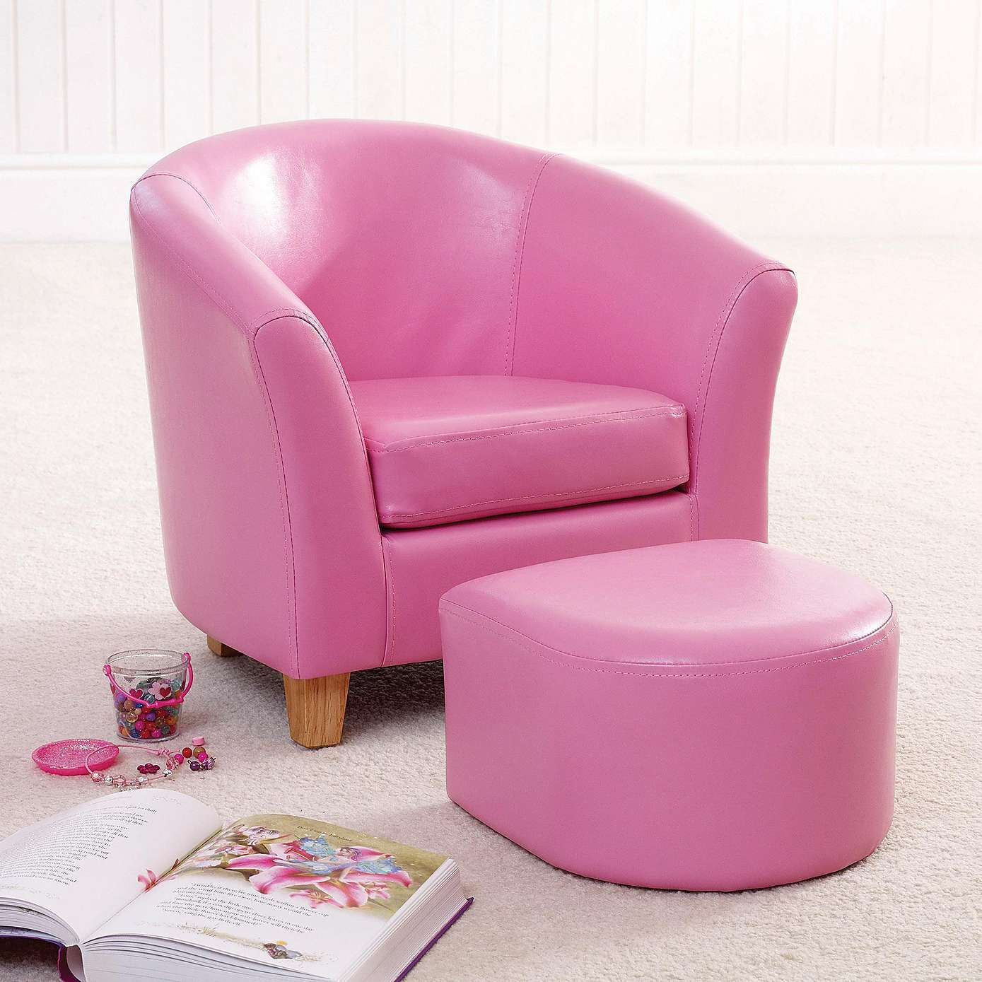 Kids Pink Faux Leather Tub Chair And Stool   Dunelm