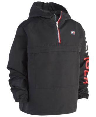 ab5e53a30a4 Tommy Hilfiger Big Boys Frasier Pullover Hooded Windbreaker Jacket - Black  XL (18/20)
