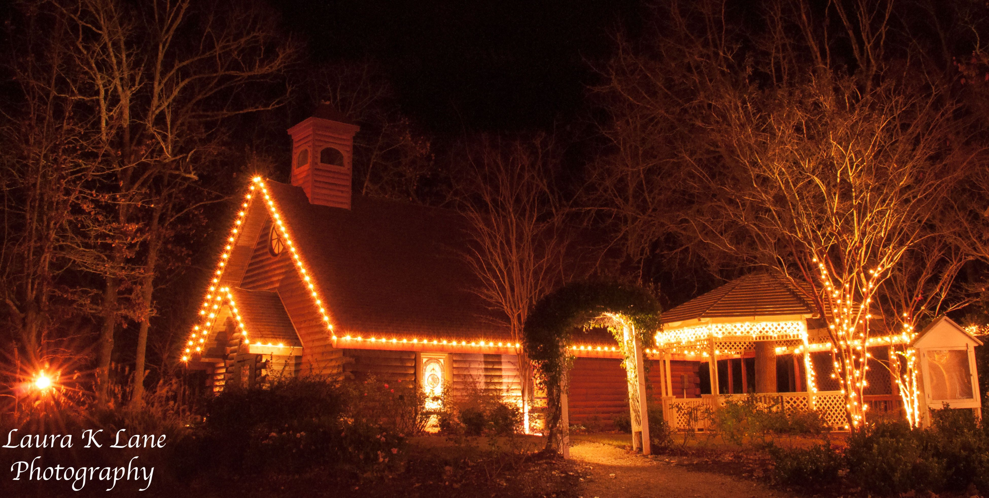 a night shot of the wedding chapel at mountain top inn & resort in