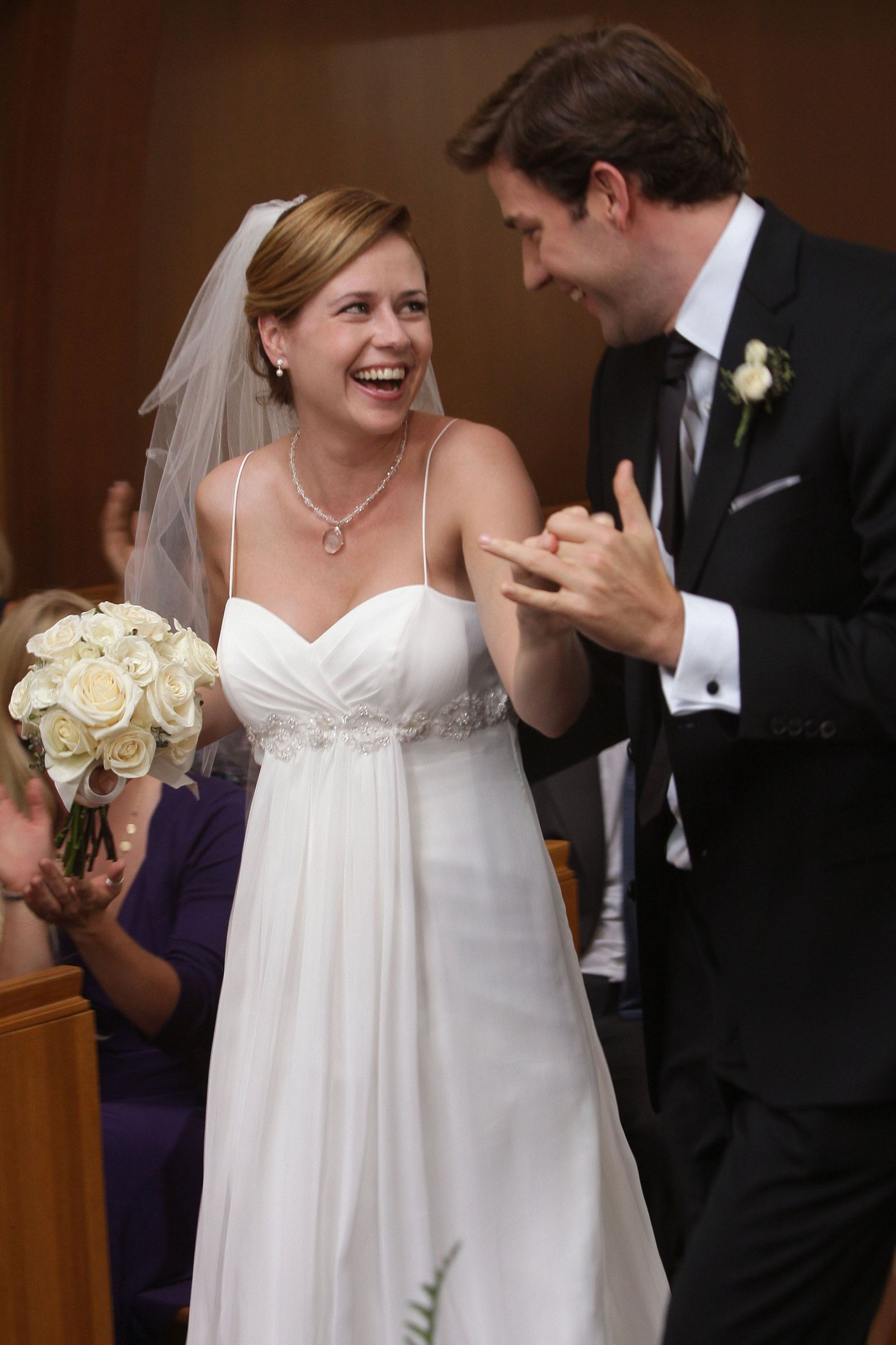 The Dreamiest Tv Wedding Dresses Of All Time The Office Wedding Tv Weddings Wedding Movies