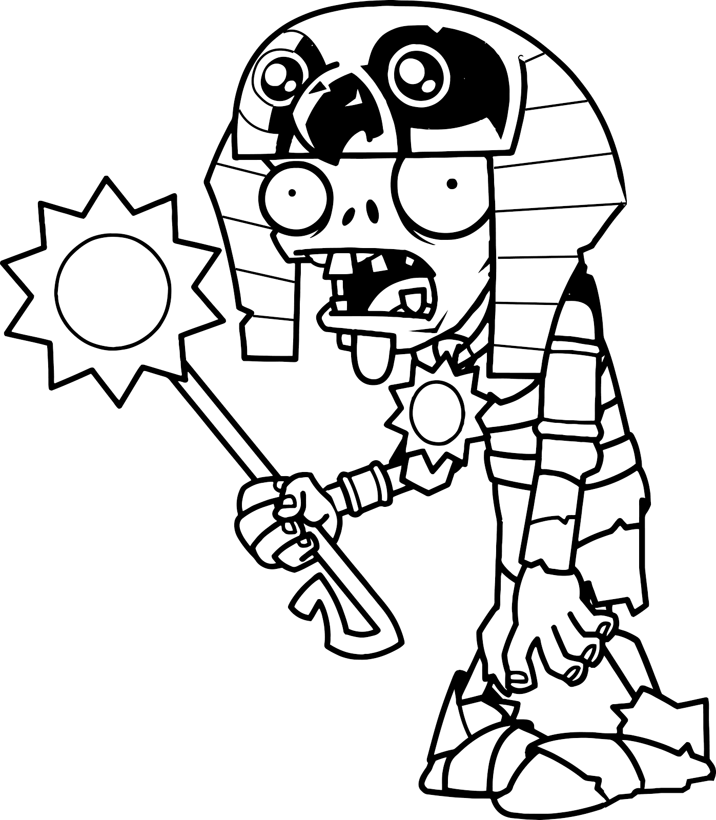 Original Coloring Pages Plants Vs Zombies 2 Egyptian Pharaoh Zombie