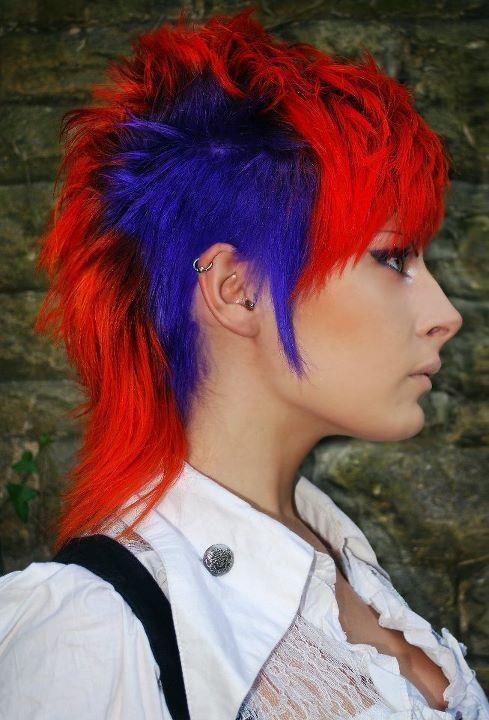 Red And Blue Punk Hair Hair Short Hair Styles