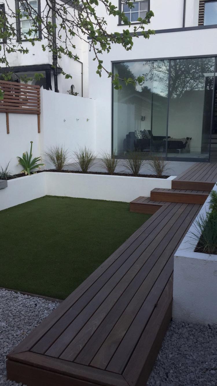 Small Garden Ideas Wood Concrete Astroturf Contemporarygarden