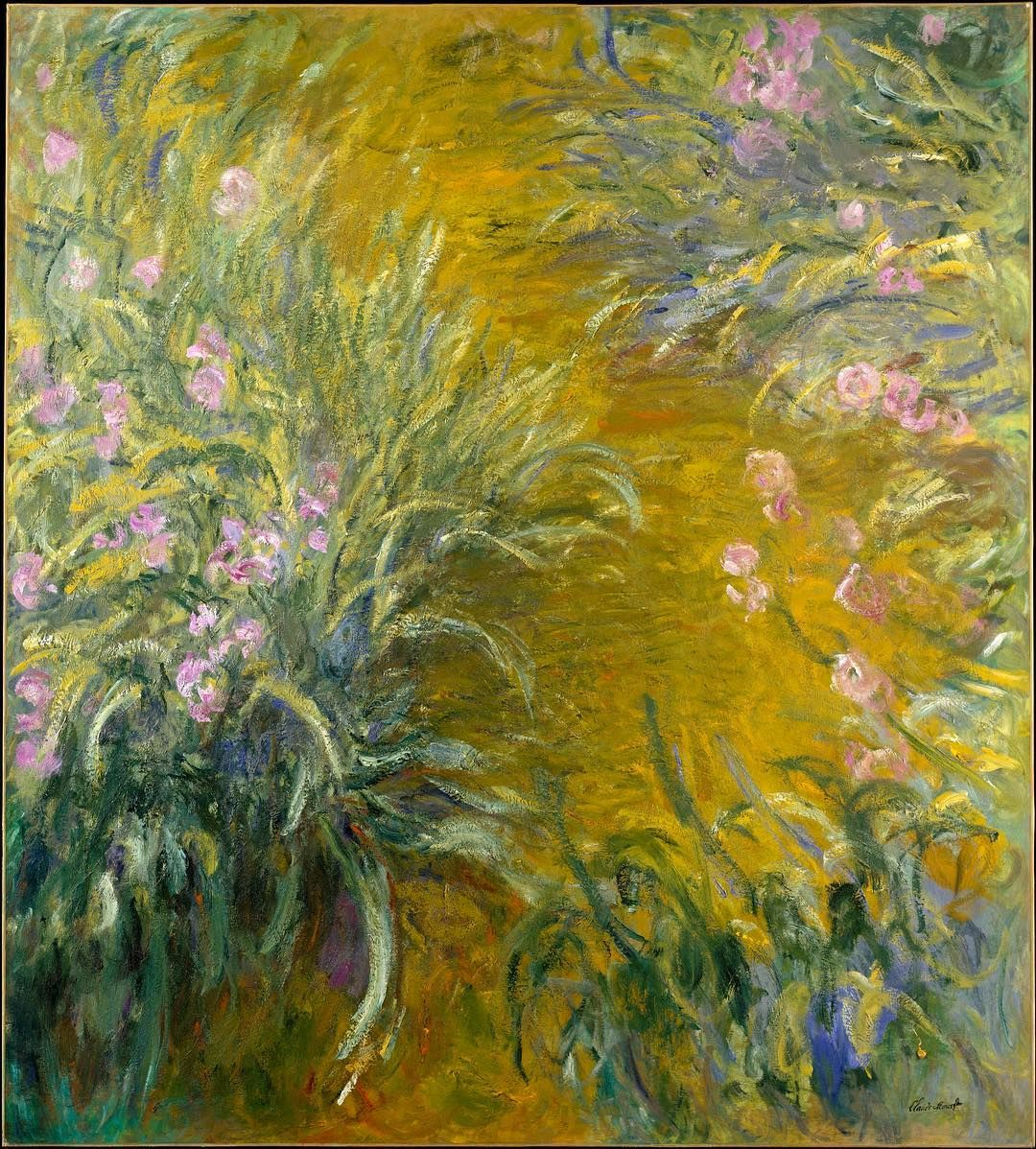 Did you know its Iris Day? Irises among Monet's favorite flowers lined the pathways leading up to the house and Japanese bridge on the artist's property at Giverny. This bird's-eye view of a garden path captures the vital essence of these flowers with intensity and breadth of vision. Claude Monet (French 18401926). The Path through the Irises 191417. #TheMet #Monet #Irises by metmuseum