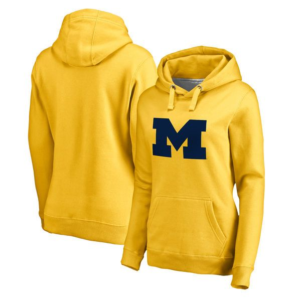 6d52b66dfebc1 Michigan Wolverines Fanatics Branded Women s Primary Team Logo Pullover  Hoodie - Yellow