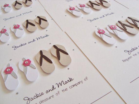 Personalised Beach Flip Flops Wedding Invitation by ohsopurrfect
