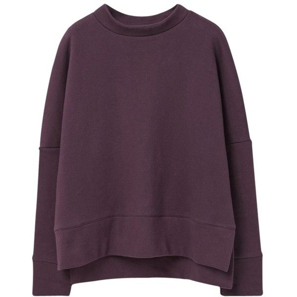 Mango Cotton Sweatshirt, Dark Purple ($43) ❤ liked on Polyvore featuring tops, hoodies, sweatshirts, sweaters, shirts, clothes - outerwear, longsleeve shirt, slit sleeve top, purple shirt and cotton shirts