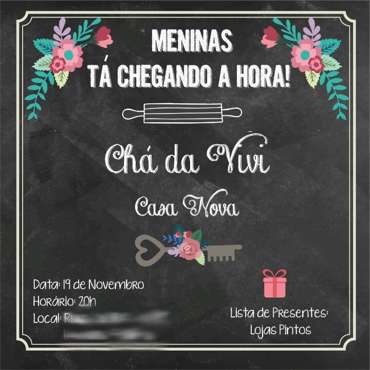 Convite da última semana do meu Chá de Casa Nova em chalkboard