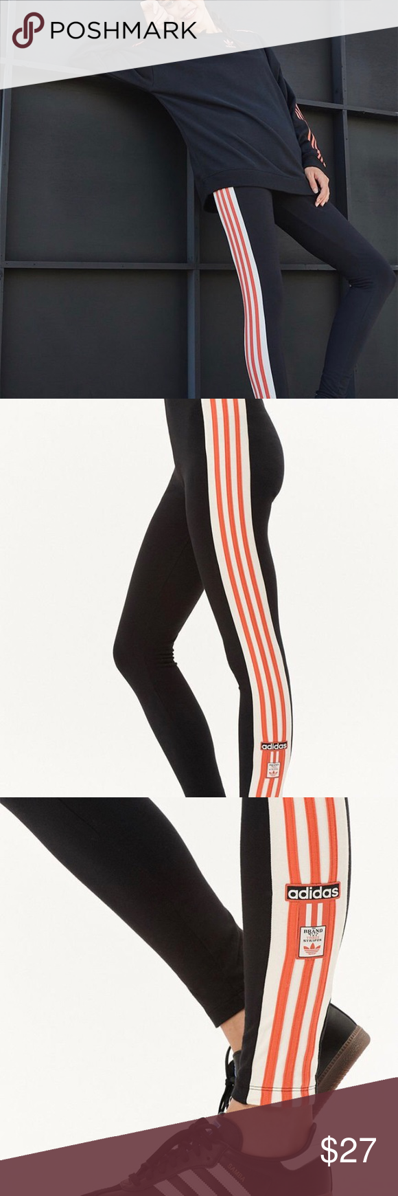 596ece2114352 Adidas Adibreak Black Leggings w/Orange Stripes Hit the gym in style with  the Adibreak Leggings by adidas. These sporty leggings feature an elastic  ...