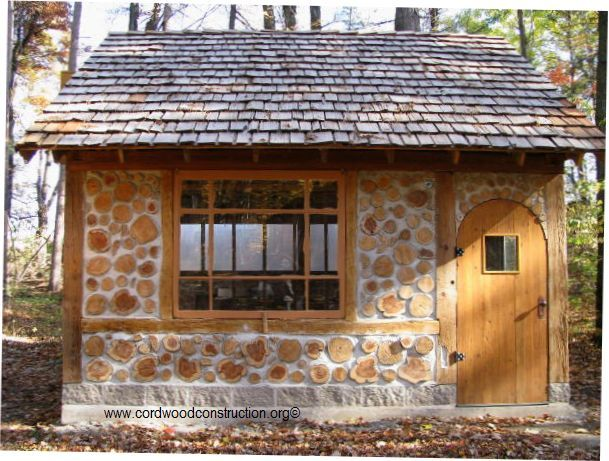Cordwood cottage garden shed in green bay wisconsin for Brick garden shed designs