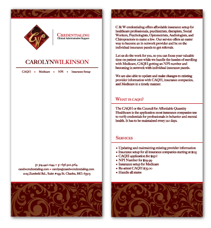 Carolyn Wilkinson Rack Card Design Rack Cards Design Marketing