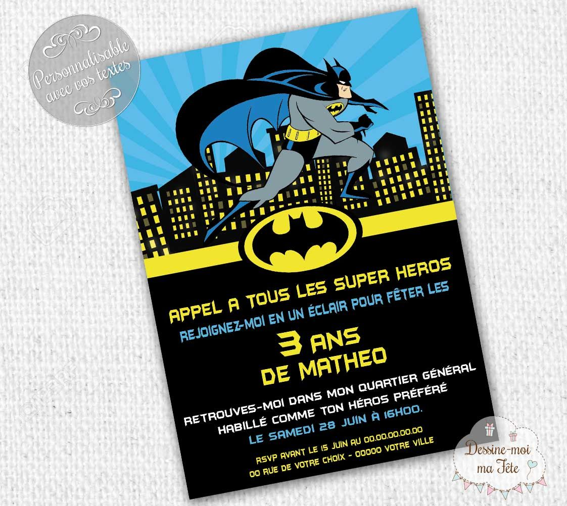 invitation anniversaire batman cr ation de cartons d 39 invitation d 39 anniversaire pour enfant. Black Bedroom Furniture Sets. Home Design Ideas