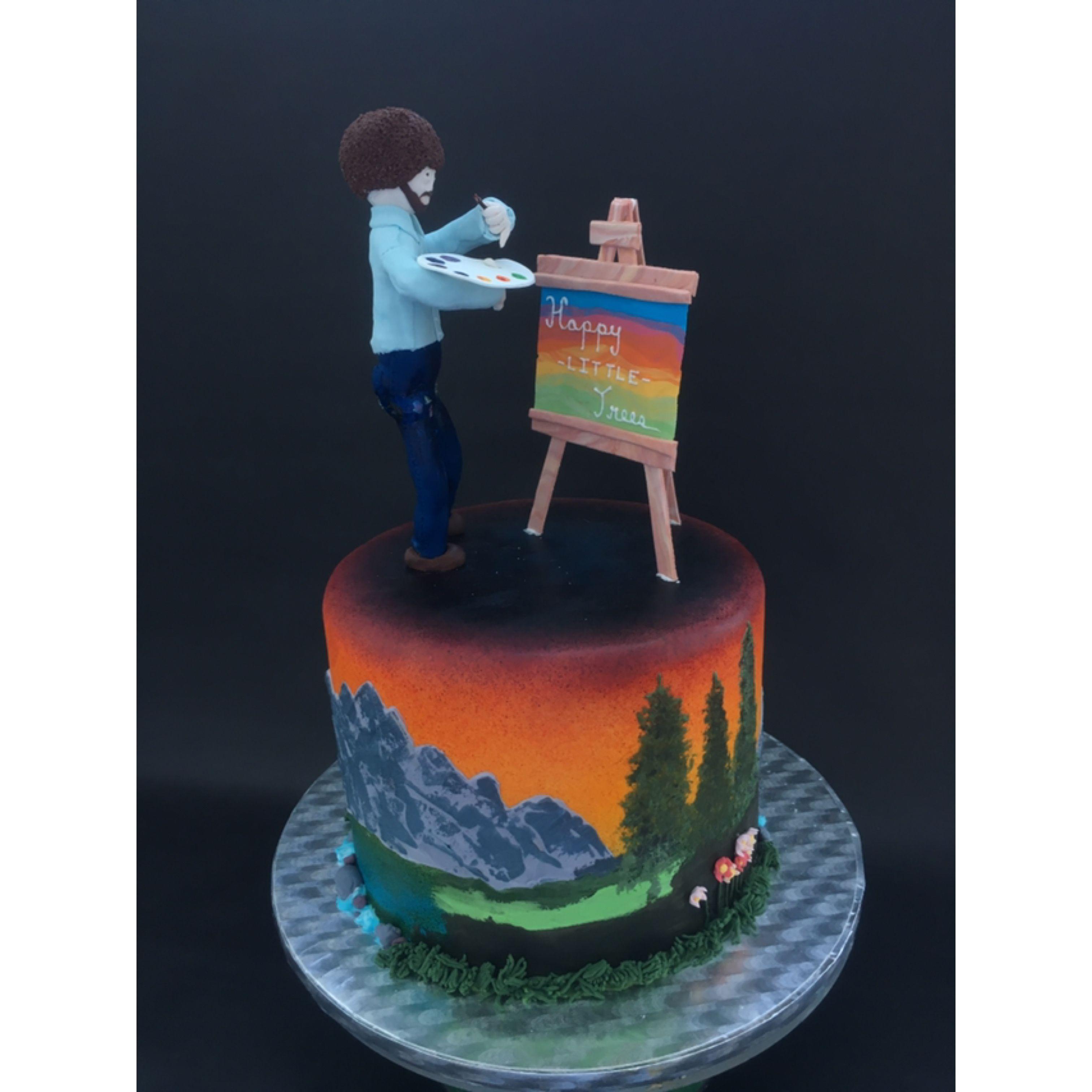 Bob Ross cake by Isabelle Coombs Bob ross, Cake, Custom