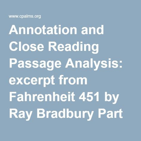 Annotation And Close Reading Passage Analysis Excerpt From