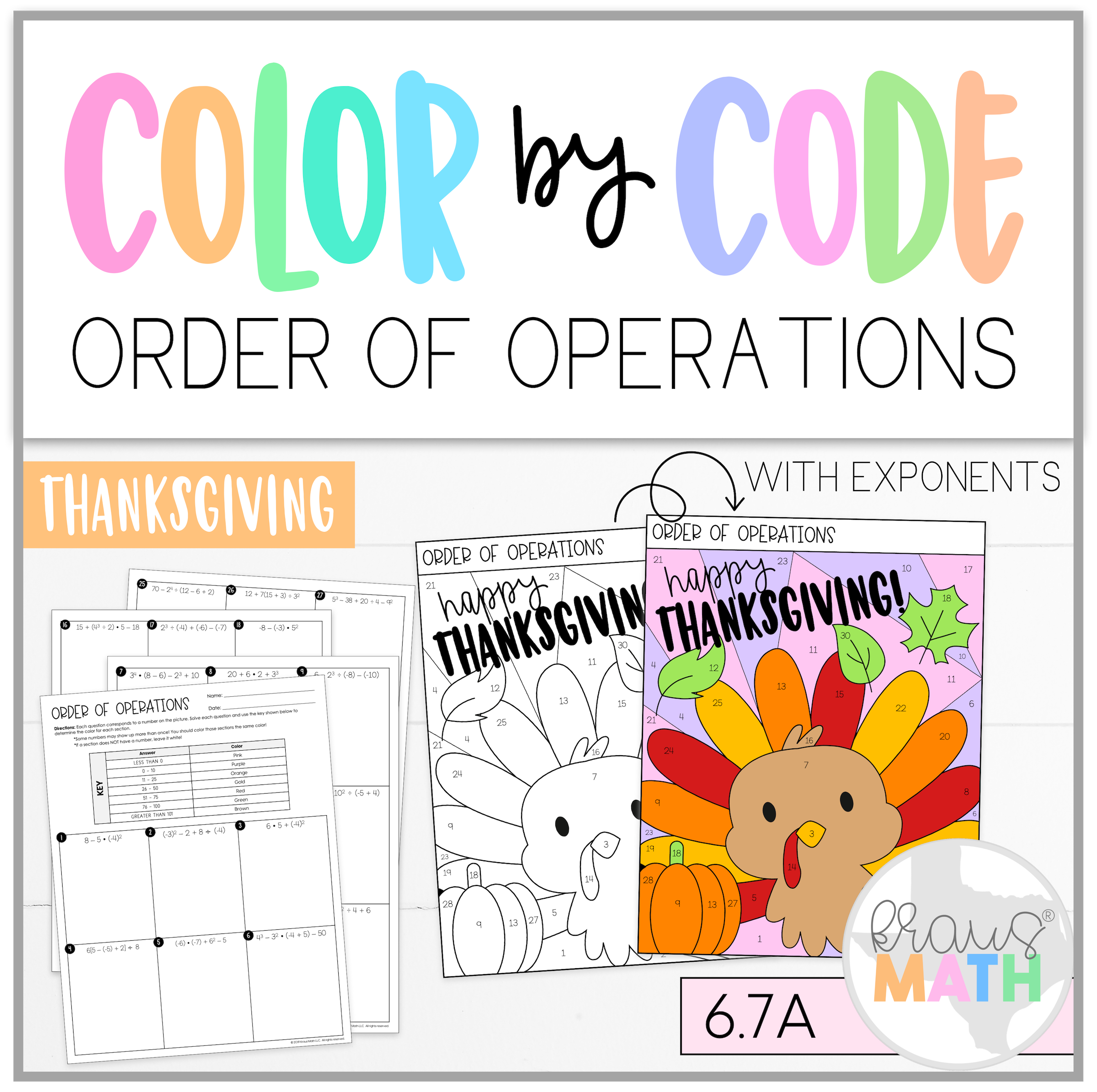 Thanksgiving Color By Number Order Of Operations Teks 6