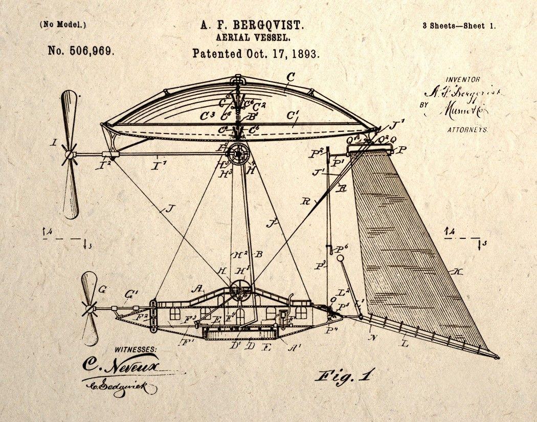 Aerial Vessel Patent Design Drawing Steampunk Wall Art Print. $14.00, via Etsy.