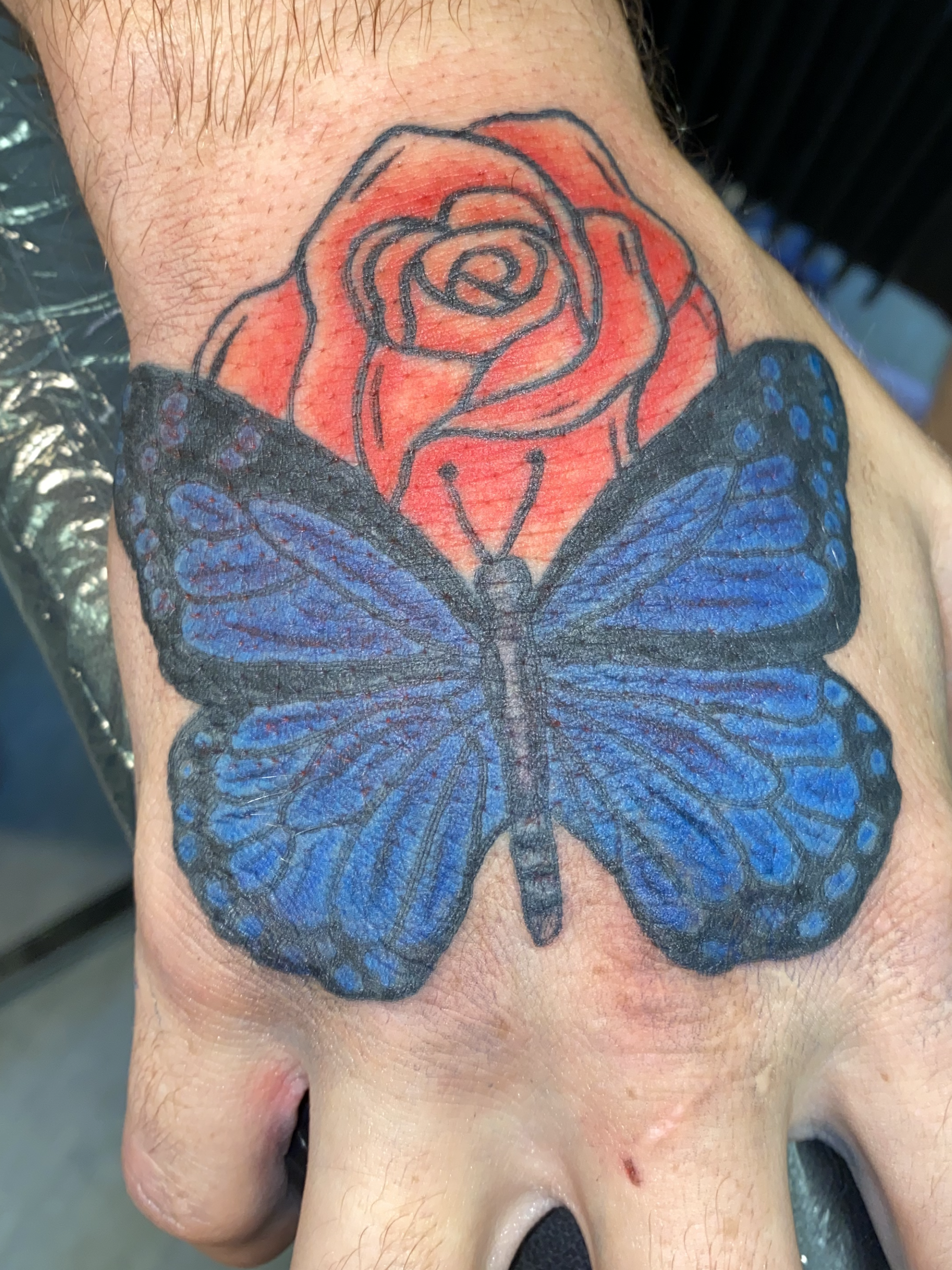 99+ tattoo design blue butterfly red rose traditional hand