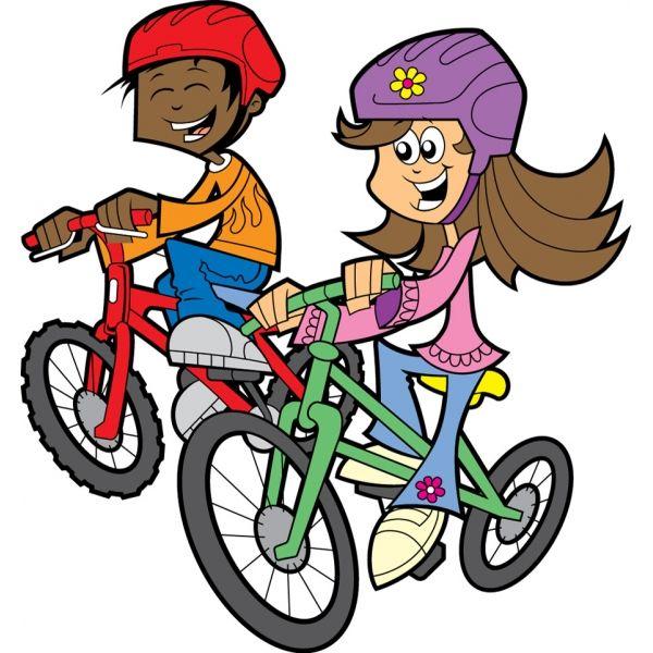 Disegno Di Bambini In Bicicletta A Colori Mezzi Di Trasporto Nel