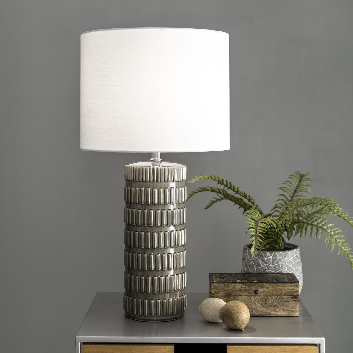 Alva 25 Inch Tangela Ridged Ceramic Table Lamp Grey Lamp In 2020 Grey Table Lamps Table Lamp Ceramic Table Lamps