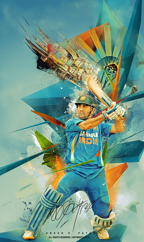 The elements they brought into this image are fascinating. They make the sport come to life. They have added the motion back into the 2D image. MS DHONI by Ankur Patar, via Behance