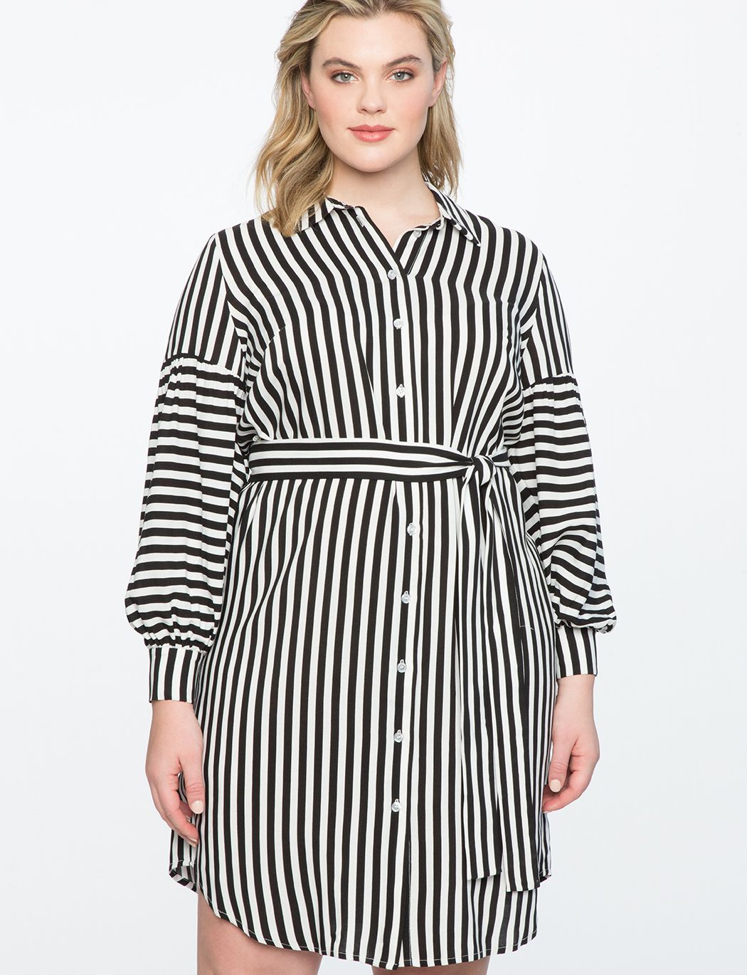 8cc34bcb67 Striped Shirtdress BLACK + WHITE