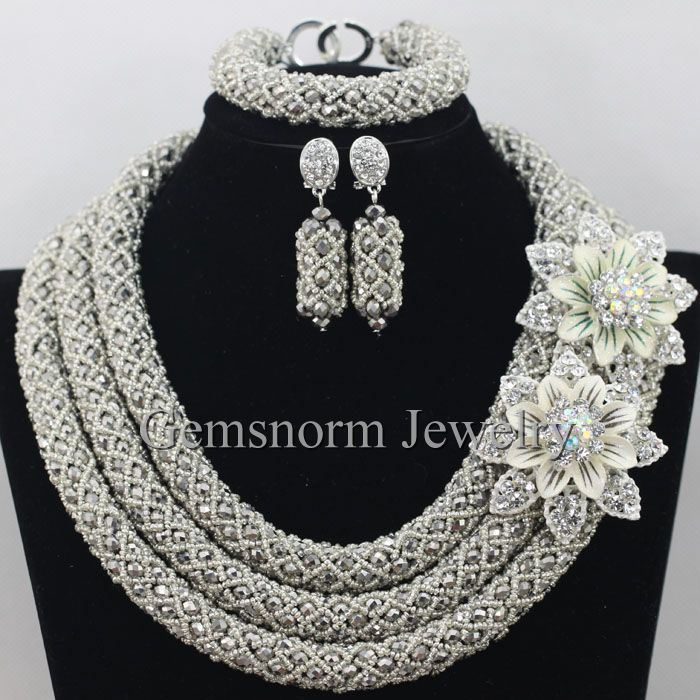 silver african beads jewelry set nigerian wedding african beads for brides party bridal jewelry set