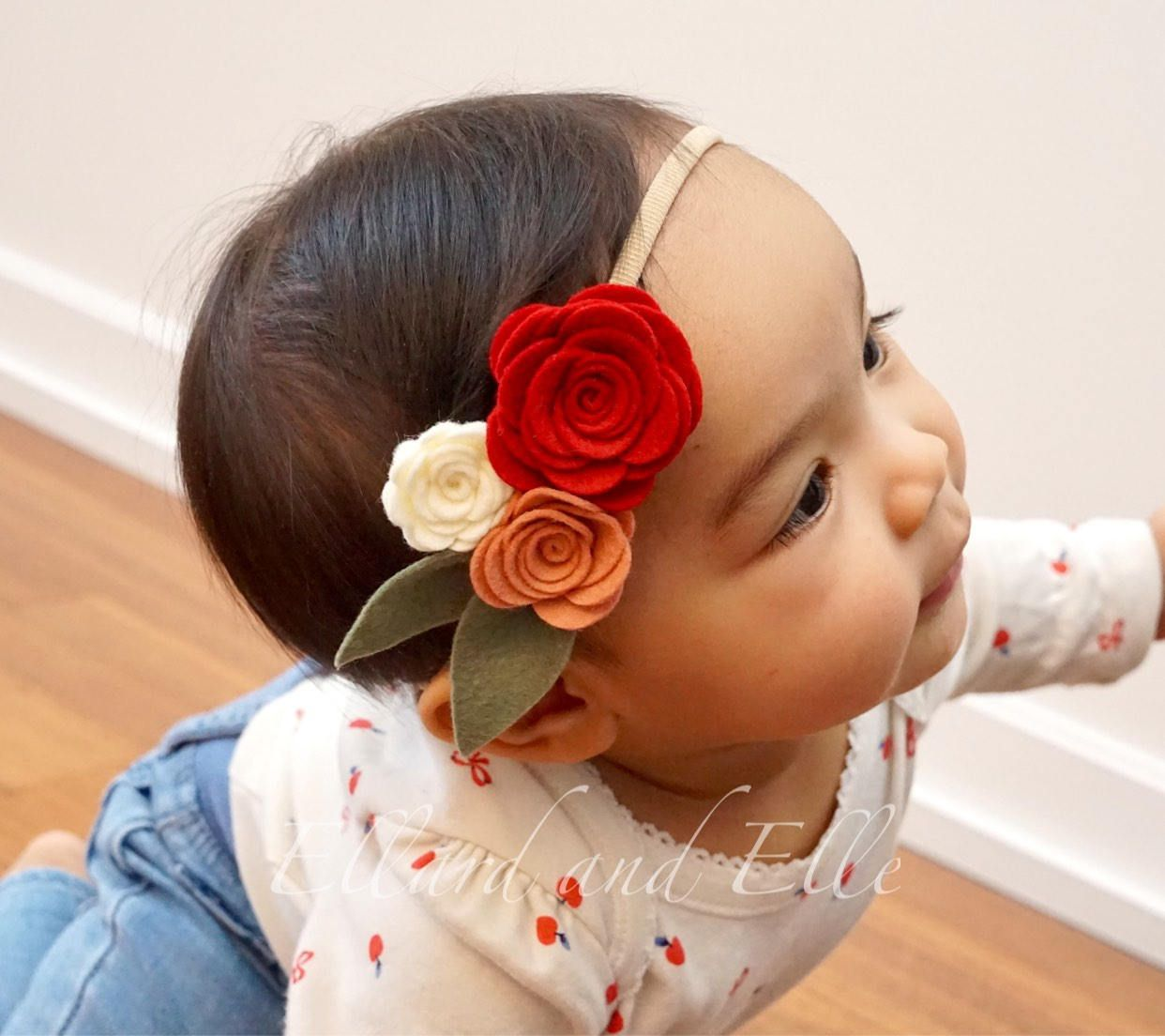 Purple 3 Rose Headband, Felt Flower Headband, Baby Flower Headband, Toddler Flower Headband, Girls Headband, Newborn Headband #feltflowerheadbands