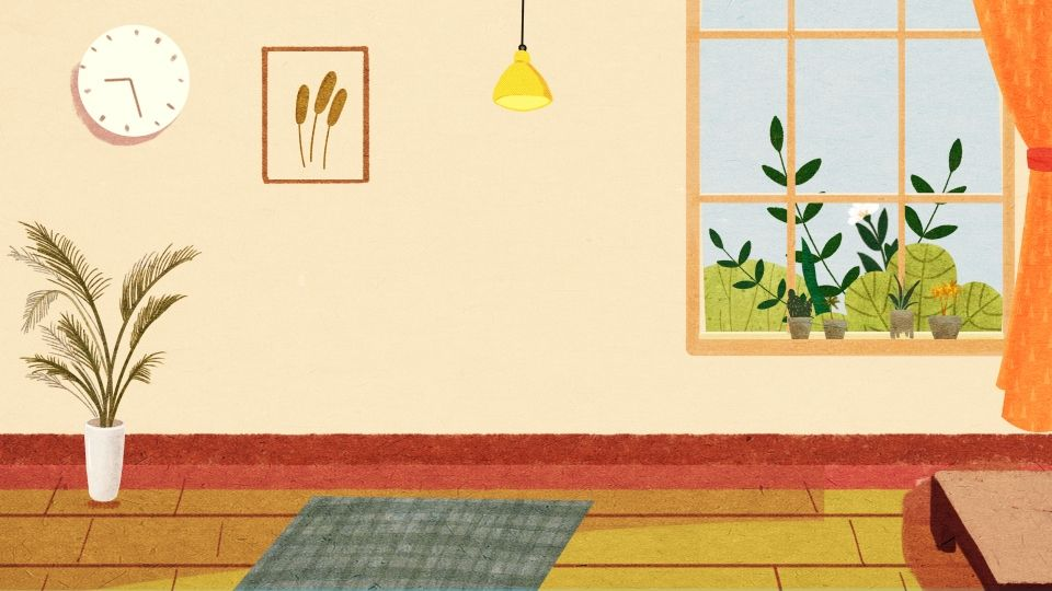 Painted Warm Home Living Room Background Design Di 2020 Desain Latar Belakang Kartun