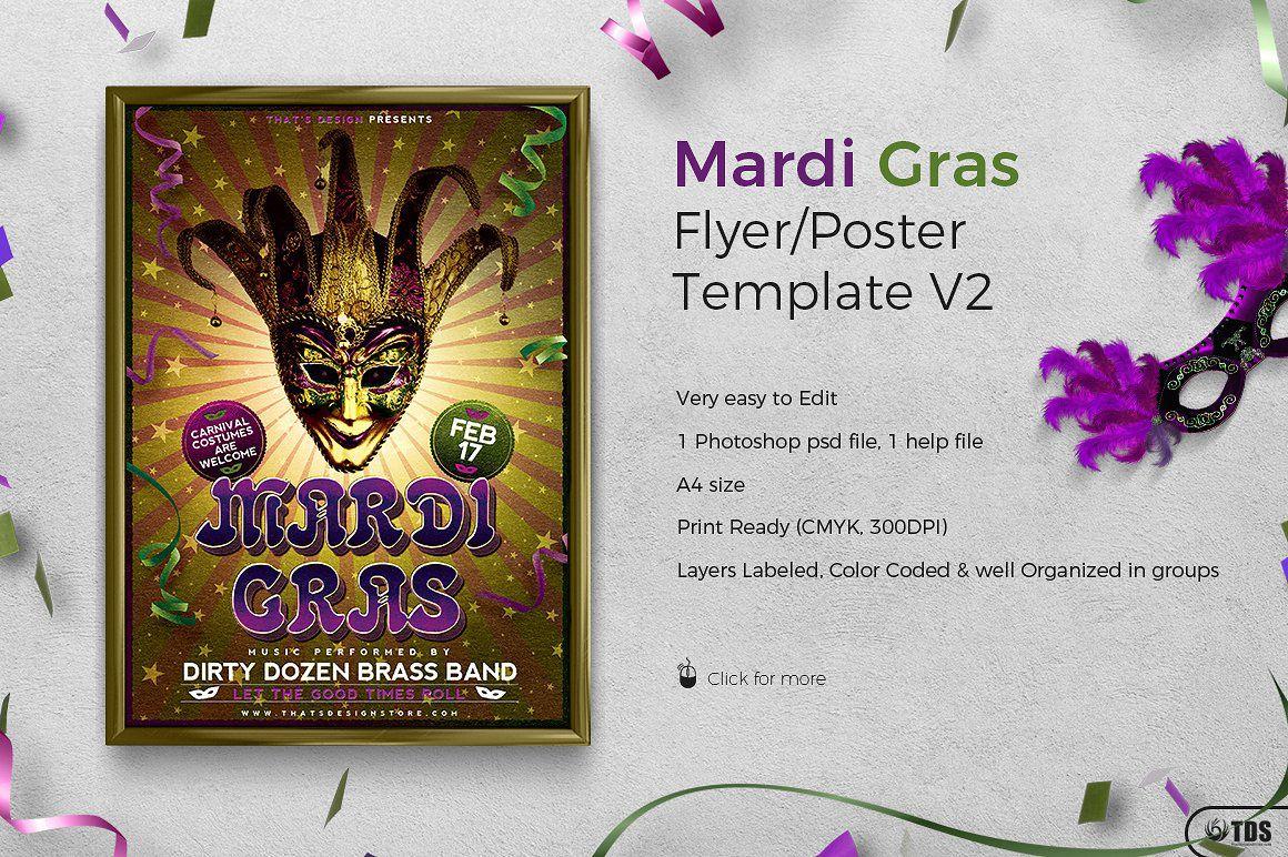Mardi Gras Flyer Template Psd Design for photoshop V2   Flyer ...