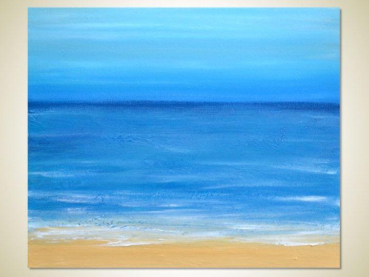 Abstract Acrylic Beach Painting - Sand, Waves, Blue Ocean ...