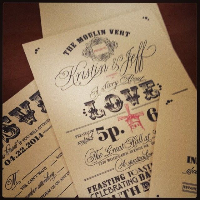 letterpress Moulin Rouge themed wedding invitations from Chic Ink