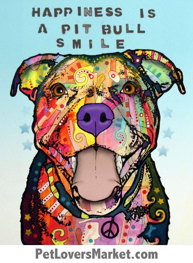 Pitbull Art Happiness Is A Pitbull Smile Pitbulls Pitbull