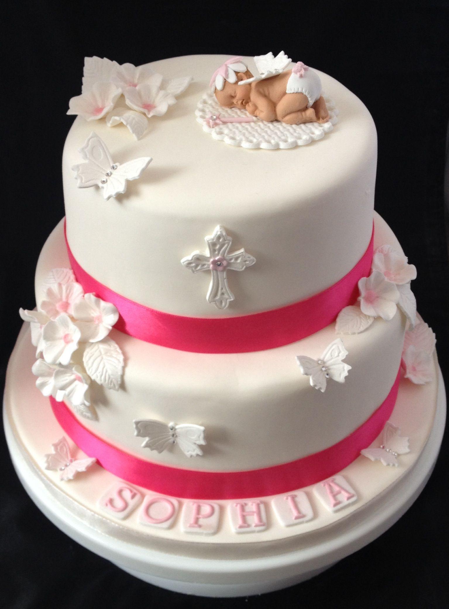 Flower Fairy Baby on Christening Cake Cake, Cake design