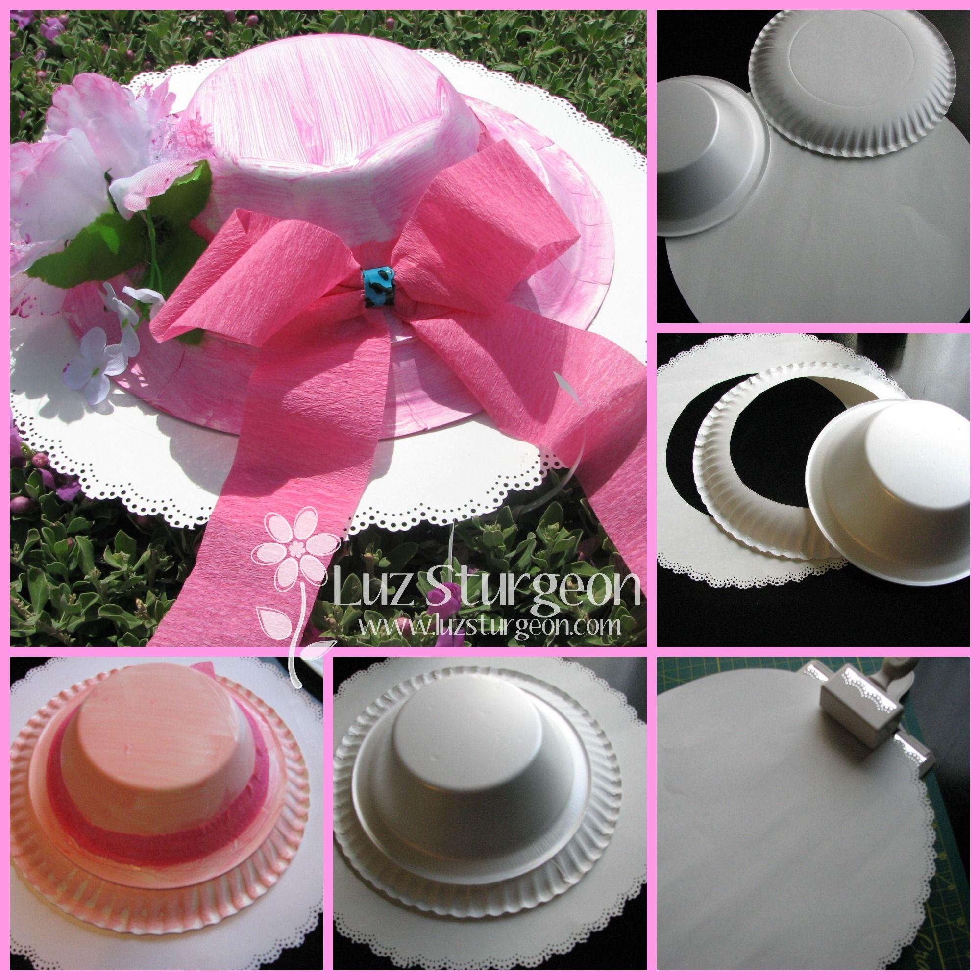 Sombrero para fiesta con platos de carton tea party hat, paper ...