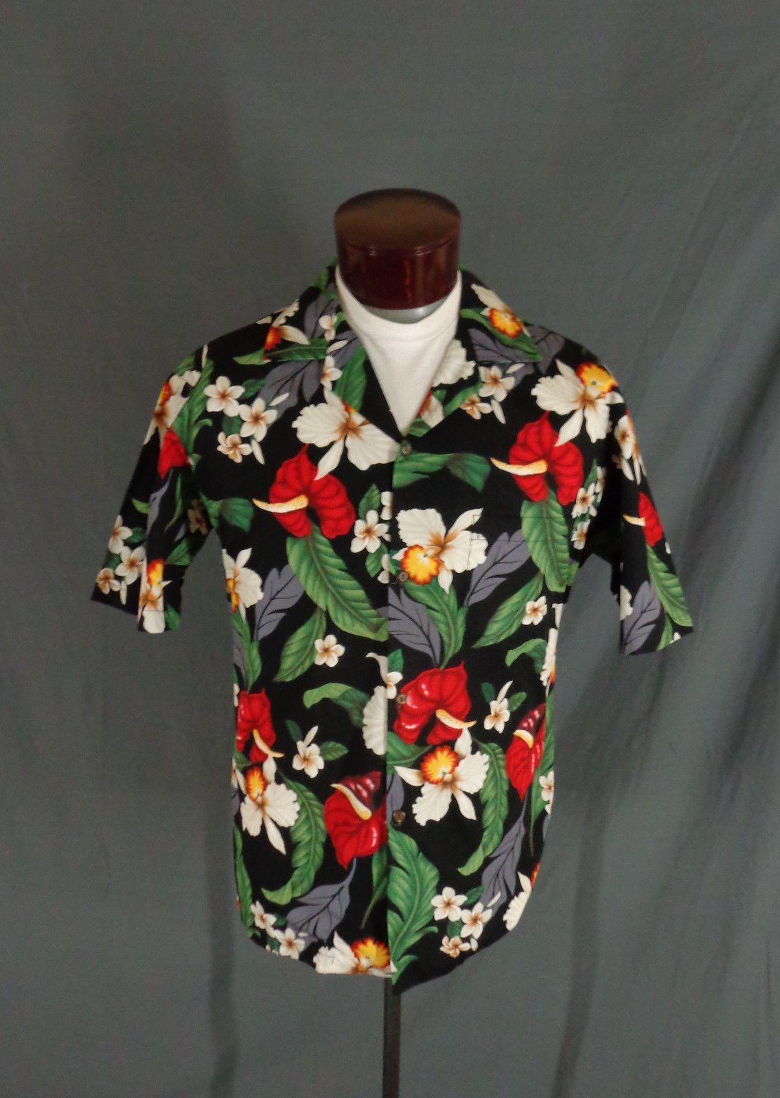 54b10df7 Vintage Aloha Republic Black Tropical Floral Print Hawaiian Shirt - Large