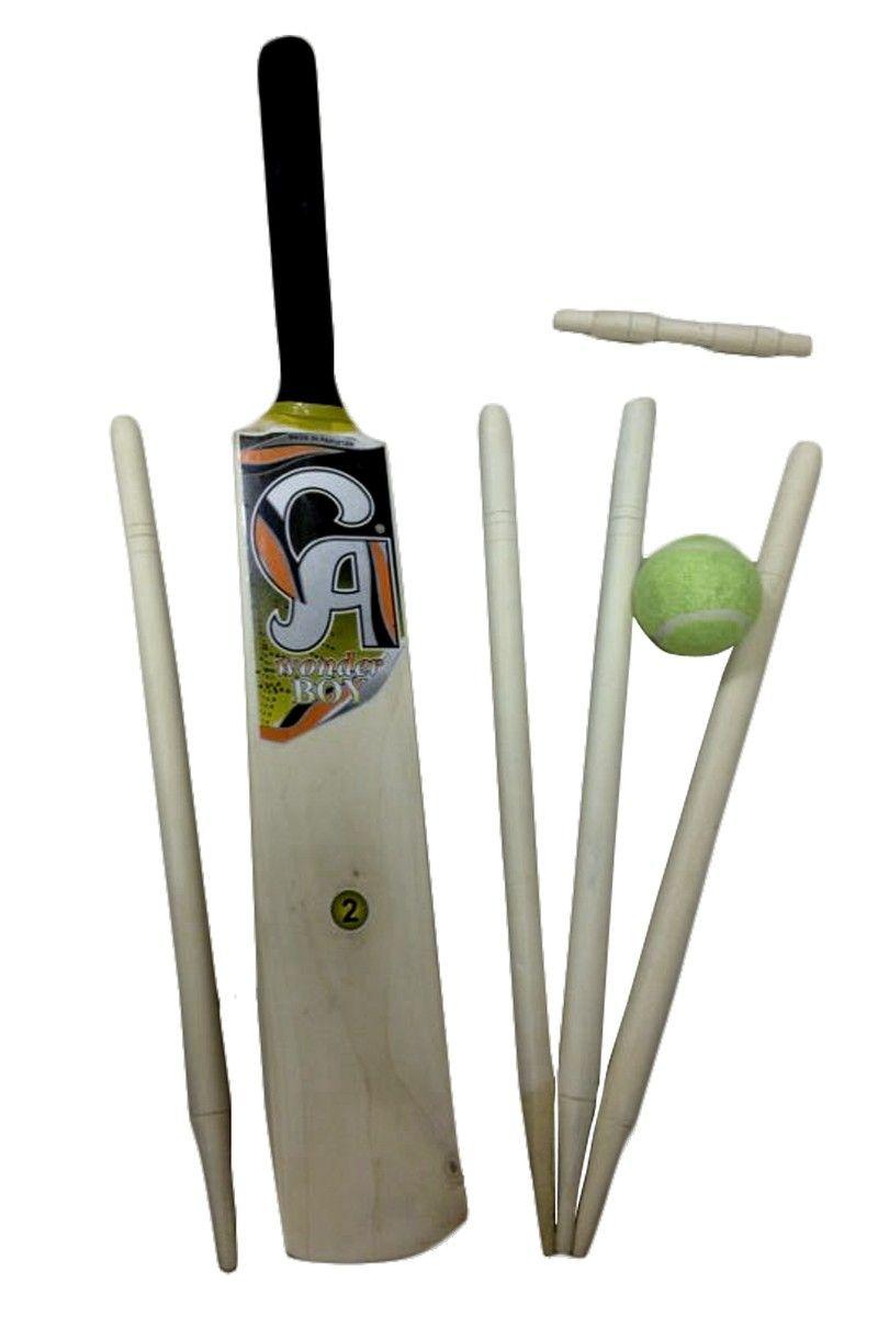Wooden CRICKET SET Size 5 /& 3 STUMPS /& 1 Soft Ball