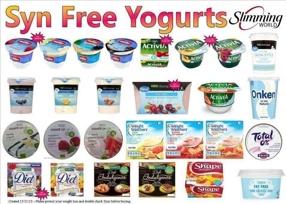 which yogurts are free on slimming world