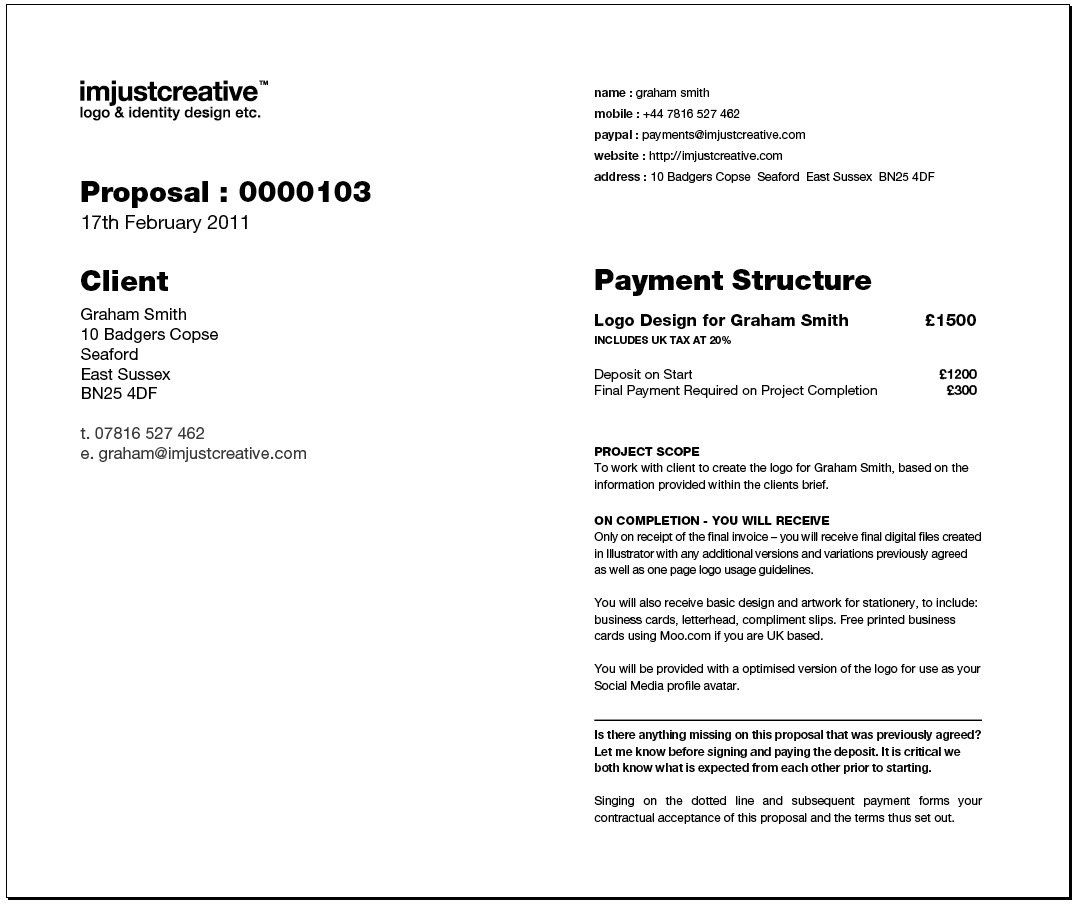 Freelance Logo Design Proposal Template For Download Web Design Proposal Proposal Templates Logo Design