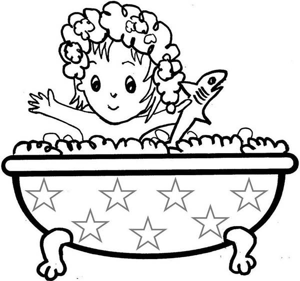 Girl taking a bath coloring pages pdf printable | Coloring Pages ...