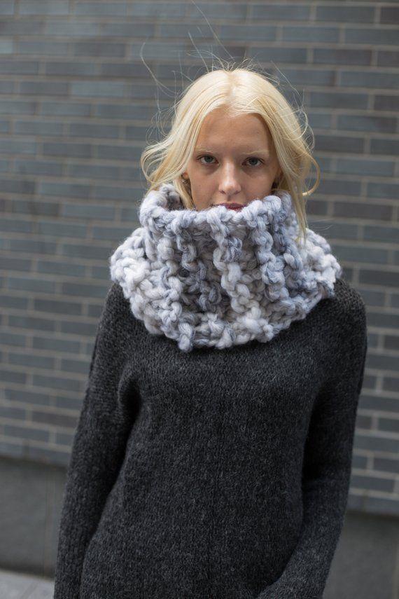 3bc94b4bb Chunky knit infinity scarf. Alpaca woman knit scarf by ...