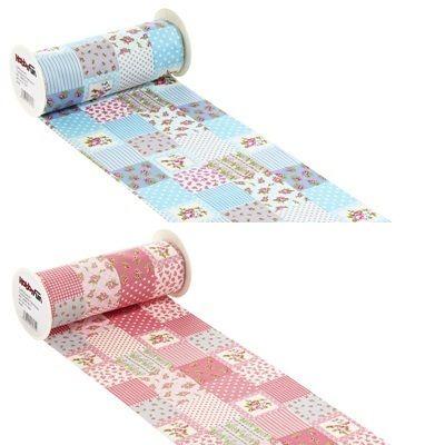 Tischband Patchwork 10 m lang x 20 cm breit in 2 verschiedenen Farben    diese Tischband ist in blau und rose erhältlich.    Sie können auch die ganz