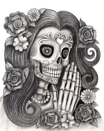 Art Skull Day Of The Deadhand Drawing On Paper Dia De Muertos