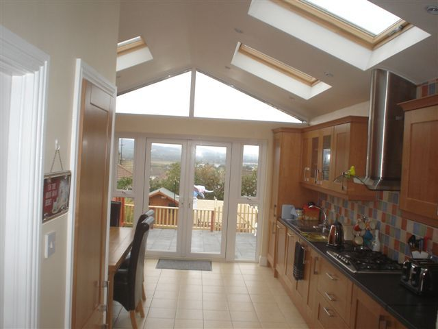 Pin By V Brittan On House Kitchen Extension Pitched Roof Internal Glass Doors Kitchen Extension