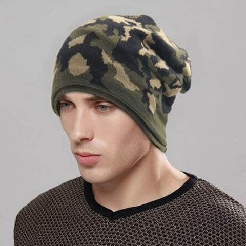 e257cf9d0 Green camo beanie hat for men warm winter outdoor knit hats | Bere ...